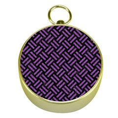 Woven2 Black Marble & Purple Denim (r) Gold Compasses by trendistuff