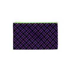 Woven2 Black Marble & Purple Denim (r) Cosmetic Bag (xs) by trendistuff