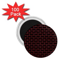Brick1 Black Marble & Red Denim (r) 1 75  Magnets (100 Pack)  by trendistuff
