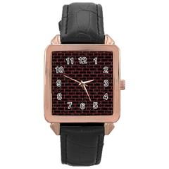 Brick1 Black Marble & Red Denim (r) Rose Gold Leather Watch  by trendistuff