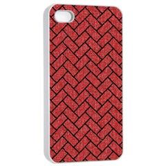 Brick2 Black Marble & Red Denim Apple Iphone 4/4s Seamless Case (white) by trendistuff