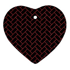 Brick2 Black Marble & Red Denim (r) Heart Ornament (two Sides) by trendistuff