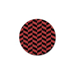 Chevron1 Black Marble & Red Denim Golf Ball Marker by trendistuff