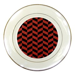 Chevron1 Black Marble & Red Denim Porcelain Plates by trendistuff