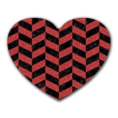 Chevron1 Black Marble & Red Denim Heart Mousepads by trendistuff