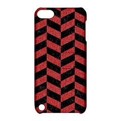 Chevron1 Black Marble & Red Denim Apple Ipod Touch 5 Hardshell Case With Stand