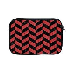 Chevron1 Black Marble & Red Denim Apple Ipad Mini Zipper Cases by trendistuff