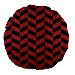 Chevron1 Black Marble & Red Denim Large 18  Premium Flano Round Cushions by trendistuff