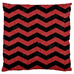Chevron3 Black Marble & Red Denim Large Cushion Case (one Side) by trendistuff