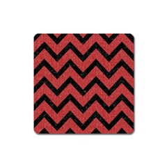 Chevron9 Black Marble & Red Denim Square Magnet by trendistuff