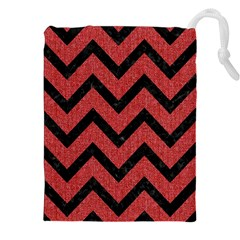Chevron9 Black Marble & Red Denim Drawstring Pouches (xxl) by trendistuff