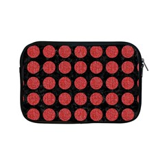 Circles1 Black Marble & Red Denim (r) Apple Ipad Mini Zipper Cases by trendistuff