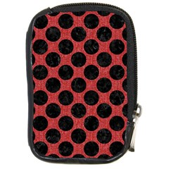 Circles2 Black Marble & Red Denim Compact Camera Cases by trendistuff