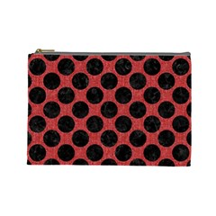 Circles2 Black Marble & Red Denim Cosmetic Bag (large)  by trendistuff