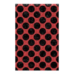 Circles2 Black Marble & Red Denim Shower Curtain 48  X 72  (small)  by trendistuff
