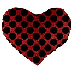 Circles2 Black Marble & Red Denim Large 19  Premium Heart Shape Cushions by trendistuff