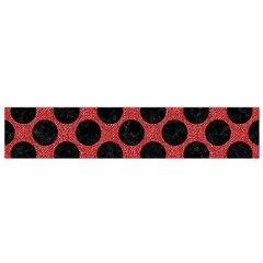 Circles2 Black Marble & Red Denim Small Flano Scarf by trendistuff