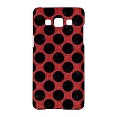 Circles2 Black Marble & Red Denim Samsung Galaxy A5 Hardshell Case  by trendistuff