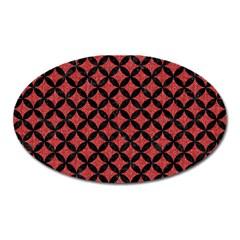 Circles3 Black Marble & Red Denim Oval Magnet by trendistuff
