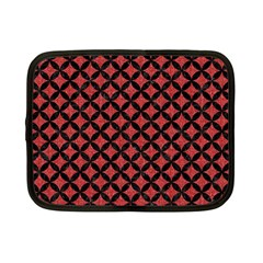 Circles3 Black Marble & Red Denim Netbook Case (small)  by trendistuff