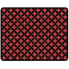 Circles3 Black Marble & Red Denim Double Sided Fleece Blanket (medium)  by trendistuff