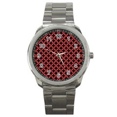 Circles3 Black Marble & Red Denim (r) Sport Metal Watch by trendistuff