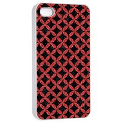 Circles3 Black Marble & Red Denim (r) Apple Iphone 4/4s Seamless Case (white) by trendistuff