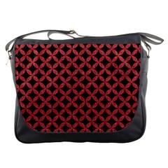Circles3 Black Marble & Red Denim (r) Messenger Bags by trendistuff