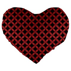 Circles3 Black Marble & Red Denim (r) Large 19  Premium Heart Shape Cushions by trendistuff
