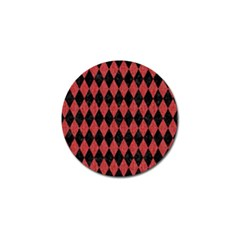 Diamond1 Black Marble & Red Denim Golf Ball Marker by trendistuff