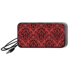 Damask1 Black Marble & Red Denim Portable Speaker by trendistuff