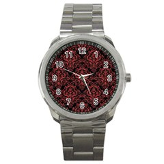 Damask1 Black Marble & Red Denim (r) Sport Metal Watch by trendistuff