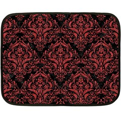 Damask1 Black Marble & Red Denim (r) Double Sided Fleece Blanket (mini)  by trendistuff