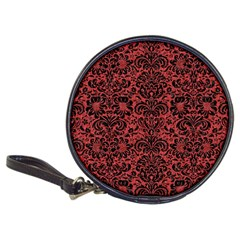 Damask2 Black Marble & Red Denim Classic 20 Cd Wallets by trendistuff
