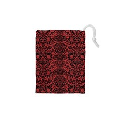 Damask2 Black Marble & Red Denim Drawstring Pouches (xs)  by trendistuff