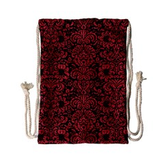 Damask2 Black Marble & Red Denim (r) Drawstring Bag (small) by trendistuff