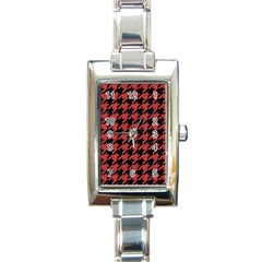 Houndstooth1 Black Marble & Red Denim Rectangle Italian Charm Watch by trendistuff