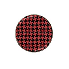Houndstooth1 Black Marble & Red Denim Hat Clip Ball Marker (10 Pack) by trendistuff
