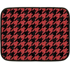 Houndstooth1 Black Marble & Red Denim Fleece Blanket (mini) by trendistuff