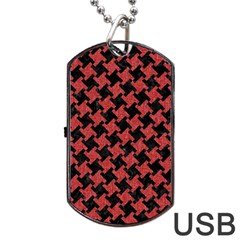 Houndstooth2 Black Marble & Red Denim Dog Tag Usb Flash (one Side) by trendistuff