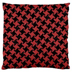 Houndstooth2 Black Marble & Red Denim Large Flano Cushion Case (two Sides) by trendistuff