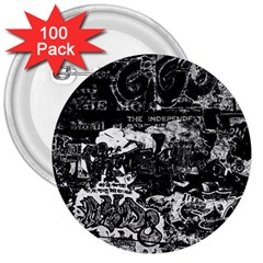 Graffiti 3  Buttons (100 Pack)  by ValentinaDesign