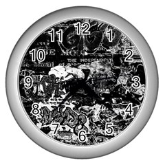Graffiti Wall Clocks (silver)  by ValentinaDesign