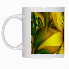 Beautiful Yellow Green Meadow Of Daffodil Flowers White Mugs by beautifulfractals