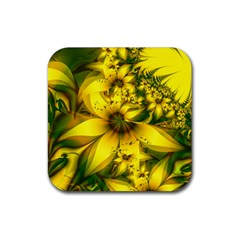 Beautiful Yellow Green Meadow Of Daffodil Flowers Rubber Square Coaster (4 Pack)  by jayaprime