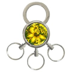 Beautiful Yellow Green Meadow Of Daffodil Flowers 3 Ring Key Chains by jayaprime