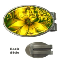 Beautiful Yellow Green Meadow Of Daffodil Flowers Money Clips (oval)  by jayaprime
