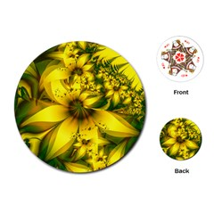 Beautiful Yellow Green Meadow Of Daffodil Flowers Playing Cards (round)  by beautifulfractals
