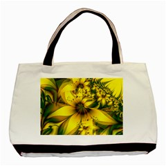 Beautiful Yellow Green Meadow Of Daffodil Flowers Basic Tote Bag by beautifulfractals