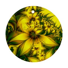 Beautiful Yellow Green Meadow Of Daffodil Flowers Round Ornament (two Sides) by jayaprime